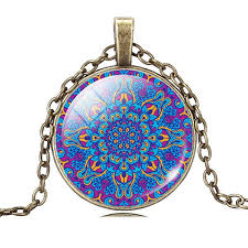 art glass necklace images Mandala flower art glass necklace the enchanted forest jpg