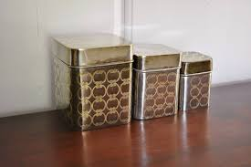 metal kitchen canisters brass kitchen canister set art deco white yellow nesting