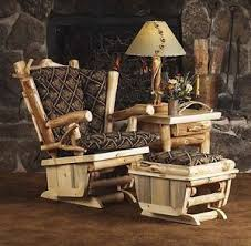 Western Living Room Furniture Rustic Glider Rocker Chair With Ottoman Country Western Living