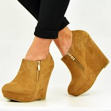 womens boots uk size 2 womens ankle boots wedge platforms side zip booties shoes