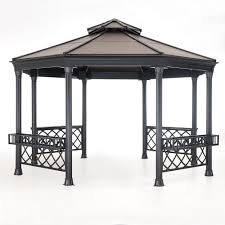 Sunjoy Industries Patio Heater by Sunjoy Stockton 14 Ft X 13 Ft Faux Copper Steel Gazebo 110102036