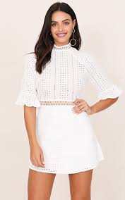 white lace dress in white lace showpo