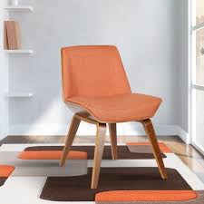 Orange Parsons Chair Living Agi Mid Century Dining Chair In Walnut Wood And Orange Fabric