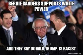 White Power Meme - bernie sanders supports white power and they say donald trump is