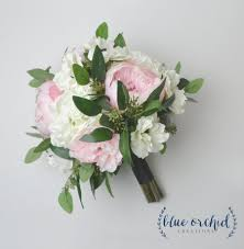 wedding flowers eucalyptus peony bouquet silk bouquet wedding bouquet blush blush peony