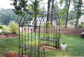 manificent design metal arbor with gate entracing metal garden