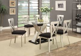 furniture of america cm3725t glass dining table set