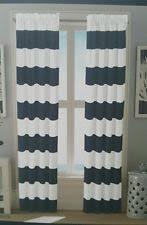 Drapery Panels 96 Nautica Headland Navy Blue Cream Striped Twill Lined Window