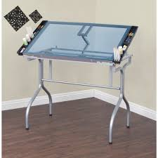 Foldable Drafting Table Studio Designs Silver Blue Glass Top Folding Drafting Table Free