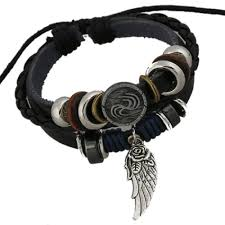 leather bead necklace images Leather bead bracelet with wing charm jpg