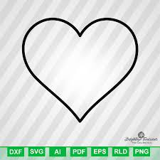 heart outline dxf svg ai pdf eps rld rdworks png jpg and wmf