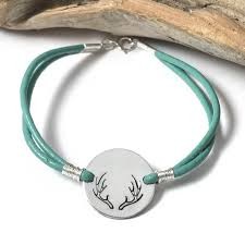 make bracelet with leather cord images 19mm antler stamped teal leather cord bracelet jpg