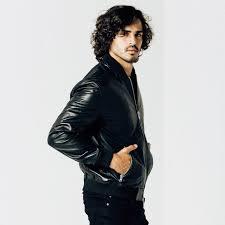 mens leather er jacket in black 320 dstld