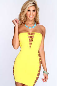 womens clothing party dresses yellow strapless strappy side party