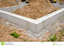 concrete block house concrete block foundation for urban house stock photo image