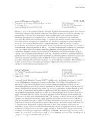 Logistics Management Specialist Resume Federal Resume