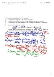 stoichiometry limiting reagent worksheet answers instructional
