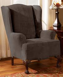 wing chair slipcover sure fit stretch royal wing chair slipcover slipcovers