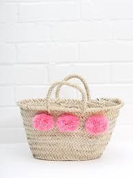 Beach Basket Light Pink Small Pom Pom Mini French Market Beach Basket Tote