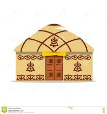 Yurt House Vector Yurt Cartoon Illustration House Of Asian Nomads Stock