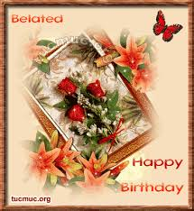 beautiful glitter flowers belated birthday card gif 374 407