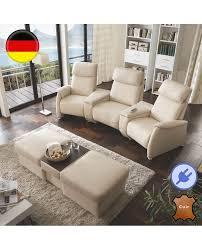 home canapé canapé home cinéma cuir écru 3 places relax pouf modulable