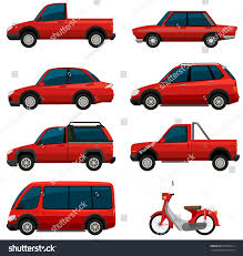 types of red colors different types transports red color stock vector 627365513