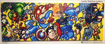 themed paintings comic book meets in one nyc gallery