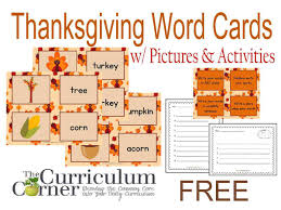 thanksgiving word cards w activities the curriculum corner 123