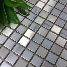 stainless steel mosaic tile backsplash silver metal mosaic tile smmt033 square stainless steel metallic