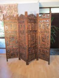 Wooden Room Dividers by 4 Panel Hand Carved Indian Screen Wooden Swirl Design Screen Room