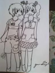my chibi couple outlined in pen by girlyaoi on deviantart