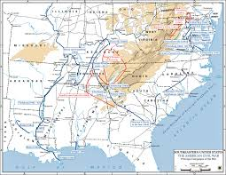 map of the us states in 1865 of the american civil war principal caigns 1861 1865
