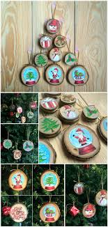 painted wood slice ornaments snow globe decor