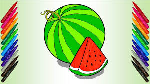 watermelon coloring page fruit learn colors for kids children