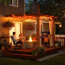 How To String Patio Lights Backyard Patio Lights String Ideas Deck Pole Lights How To