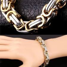 men gold tone bracelet images Two tone gold bracelet men jewelry hiphop 18k gold plated jpg