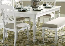 pine solids rectangular dining table in oyster white finish