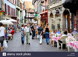 Colmar France Colmar Alsace France People In The Rue Des Marchands