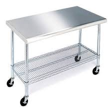 stainless steel work table with shelves chef s table stainless steel prep table on wheels 49 nsf