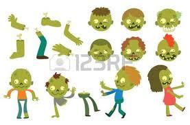 zombie head cartoon monster character scary flat vector