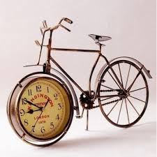 vintage metal bicycle bike clock home decoration table clock ornament