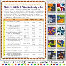 fractions and decimals color by number math worksheets