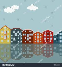 modern scandinavian houses colorful city water stock vector modern scandinavian houses colorful city and water front modern city apartments for rent