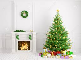 classic interior of a room with christmas tree fireplace wreath