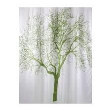 Shower Curtain With Tree Design Bisk 180 X 200 Cm Shower Curtain With Green Tree Design White By