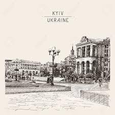 sketch digital drawing of khreshchatyk the main street of the