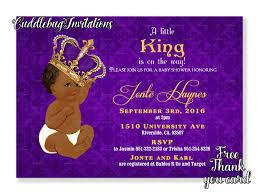 african american purple boy baby shower invitation royal