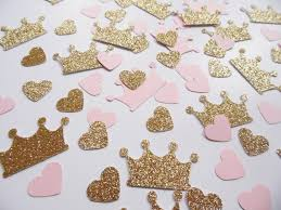 pink and gold party supplies princess crown confetti pink and gold heart confetti party