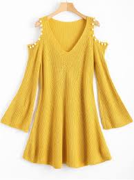yellow sweater dress beaded cold shoulder sweater dress yellow sweater dresses one